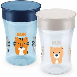 Tasse NUK Magic Cup Antifuite, rebord 360°, tigre et ours