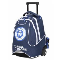 Sac à Dos à Roulettes Real Madrid 47 cm 2 Compartiments Bleu