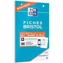30 Fiches Bristol Oxford 2.0 Scribzee Petits Carreaux 12.5 x 20 cm