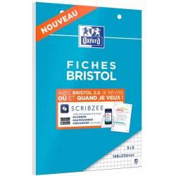 30 Fiches Bristol Oxford 2.0 Scribzee Petits Carreaux 14.8 x 21 cm