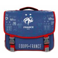 Cartable FFF 41 cm 2 Compartiments Bleu
