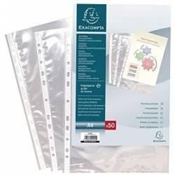 100 Pochettes Perforées Lisse Exacompta A/4 Cristal