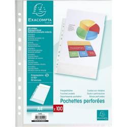 100 Pochettes Perforées Grainées Exacompta A4 Cristal