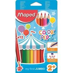 12 Crayons de Couleurs Maped Color'peps Jumbo