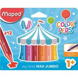 12 Craies de Coloriage Maped Wax Jumbo Color'peps