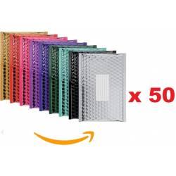 50 Enveloppes à bulles Métallisées 210X150 mm - C/0 - Couleurs Assortis
