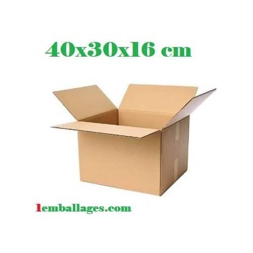 20 Cartons simple cannelure 40X30X16 cm