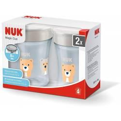 NUK Magic Cup set de tasse antifuite, rebord antifuite 360°, à partir de 8 mois, 230 ml, sans BPA, tigre et ours