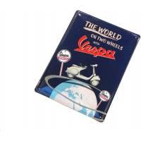 Vespa &apos, rectangulaire plaque de, panneau publicitaire avec motif The World on Two Wheels with quot/