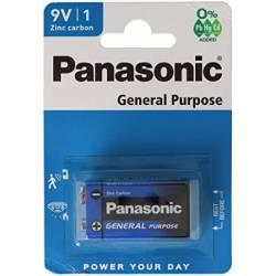 Piles R9 PANASONIC SALINES 6F22 CARBONE ZINC