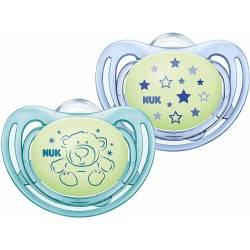 2 Sucettes NUK Freestyle Night Phosphorescentes Bleu 6-18 mois