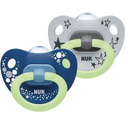2 Sucettes NUK Happy Nights Phosphorescentes Bleu et Gris 6-18 mois