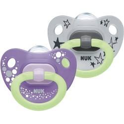 2 Sucettes NUK Happy Nights Phosphorescentes Violet et Gris 18-36 mois