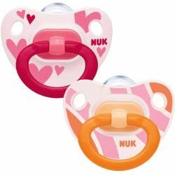 2 Sucettes NUK Classic Fille Rose 6-18 mois
