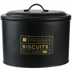 Boite à Biscuit en Métal Noir et Doré