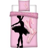 Housse de Couette Réversible Danseuse Ballerine 140 x 200 cm + Taie d'Oreiller 63 x 63 cm