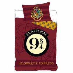 Housse de Couette Réversible Harry Potter 140 x 200 cm + Taie d'Oreiller 63 x 63 cm
