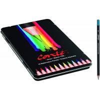 Conté Crayons de Couleur Aquarellables pour Adultes - Couleurs Assorties, Boîte en Métal de 24 + 1 Pinceau