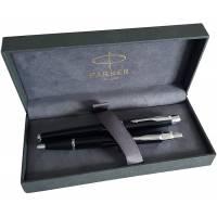 Parure de stylo PARKER IM laqué noire avec attributs chromés