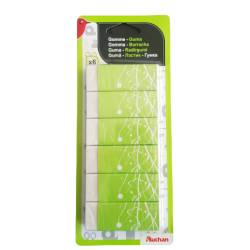 Set of 6 white erasers
