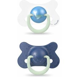 Sucette Suavinex Phospho Night & Day 4/18 Mois x2 Baleine Bleu
