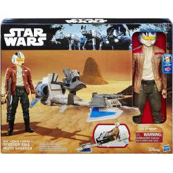 Figurine Star Wars Poe Dameron et Véhicule Motojet