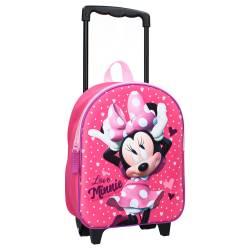 Sac à Dos à Roulettes Minnie Mouse 3D Rose
