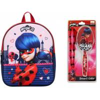 Pack 3D Miraculous Backpack and Brush and Necklace
