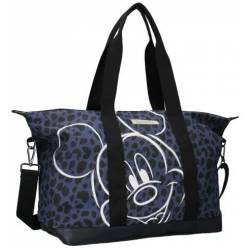 Sac Shopping Mickey Mouse Léopard Bleu