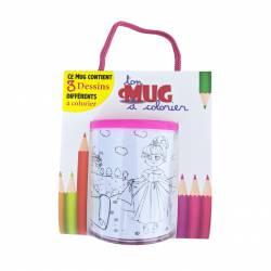 Mug à colorier Dessin de princesse licorne