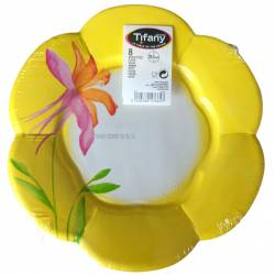 Set of 8 Yellow disposable paper plates 26,5 cm