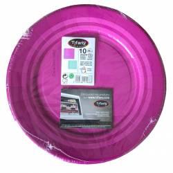 Set of 10 Purple disposable paper plates 28 cm