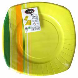 Lot de 10 assiettes vert-jaune en carton jetables 29 cm
