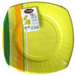 Set of 10 Green-yellow disposable paper plates 29 cm