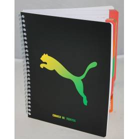 "Cahier de textes ""Puma"" Vert et jaune ""Usain Bolt""- Reliure spirale"