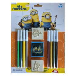 Set de Tampons Les Minions 3 Crayons de couleurs