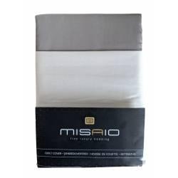 Housse de couette Misaio 240 x 220 cm Rayure Marron Gris