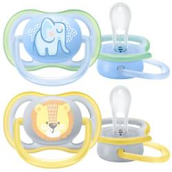 Set of 2 Advent Pacifiers 0 to 6 months Lion and Elephant