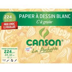 12 Papiers à dessin Blanc CANSON C à grain 24 X 32 CM
