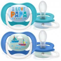 2 Sucettes Avent Ultra Air Happy Papa Bateau Bleu 6-18 mois