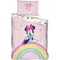 Housse de couette Minnie Rainbow 140 x 200 cm + taie d'oreiller