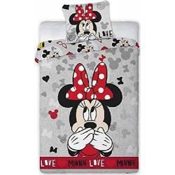 Housse de couette Minnie Love Gris 140 x 200 cm + taie d'oreiller