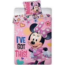 Housse de couette Minnie I've Got This 140 x 200 cm + taie d'oreiller