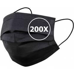 50 Masques de Protection 3 couches Jetable Noir