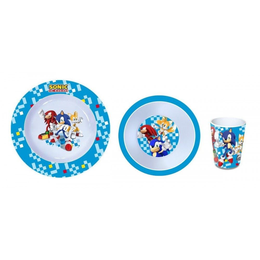 sonic the hedgehog set 3 pieces vaisselle melamine. Black Bedroom Furniture Sets. Home Design Ideas