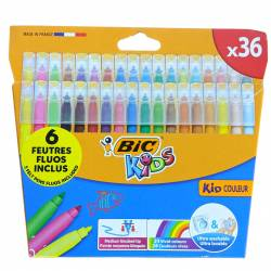 Bic Kids 36 feutres de couleurs + 6 feutres fluos