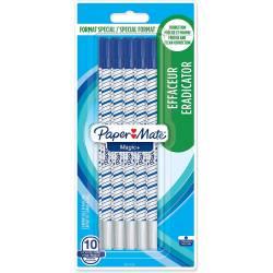 10 Effaceur Paper Mate Magic + Pointe Fine Encre Bleue