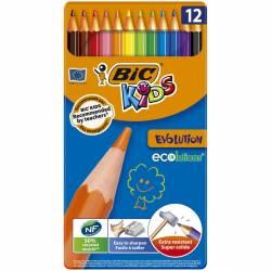 Boite en métal de 12 crayons de couleur BIC Kids Evolution