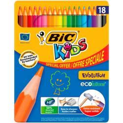 Metal box of 18 BIC Kids Evolution colored pencils