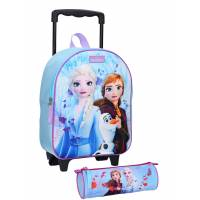 Pack 3D Snow Queen Rolling Bag + Case